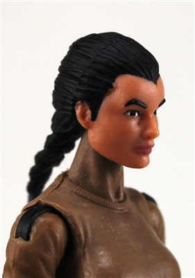 "Female Head: ""Athena""  Light Skin Tone with Black French Braid - 1:18 Scale MTF Valkyries Accessory for 3-3/4"" Action Figures"