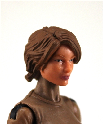 "Female Head:  ""Athena"" Light Skin Tone with Brown Long Hair - 1:18 Scale MTF Valkyries Accessory for 3-3/4"" Action Figures"