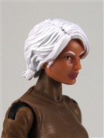 "Female Head:  ""Athena"" Light Skin Tone with White Long Hair - 1:18 Scale MTF Valkyries Accessory for 3-3/4"" Action Figures"