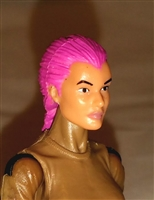 "Female Head: ""Athena""  Light Skin Tone with Pink French Braid - 1:18 Scale MTF Valkyries Accessory for 3-3/4"" Action Figures"