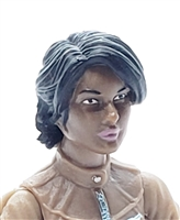 "Female Head: ""Athena""  Dark Skin Tone with Black Long Hair - 1:18 Scale MTF Valkyries Accessory for 3-3/4"" Action Figures"