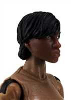"Female Head: ""Oshun""  Dark Skin Tone with Black Short Hair - 1:18 Scale MTF Valkyries Accessory for 3-3/4"" Action Figures"