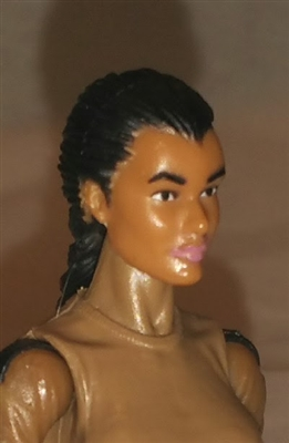 "Female Head: ""Athena"" Tan Skin Tone with Black French Braid - 1:18 Scale MTF Valkyries Accessory for 3-3/4"" Action Figures"