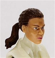 "Female Head: ""Talia""  Light Skin Tone with Brown Hair & Pony Tail - 1:18 Scale MTF Valkyries Accessory for 3-3/4"" Action Figures"