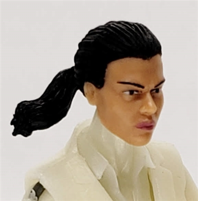 "Female Head: ""Talia""  Light Skin Tone with Black Hair & Pony Tail - 1:18 Scale MTF Valkyries Accessory for 3-3/4"" Action Figures"