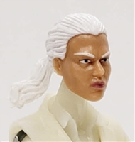 "Female Head: ""Talia""  Light Skin Tone with White Hair & Pony Tail - 1:18 Scale MTF Valkyries Accessory for 3-3/4"" Action Figures"