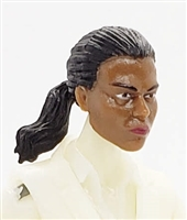 "Female Head: ""Talia""  Dark Skin Tone with Black Hair & Pony Tail - 1:18 Scale MTF Valkyries Accessory for 3-3/4"" Action Figures"