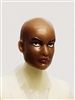 "Female Head: ""Grace""  Dark Skin Tone with Bald Head - 1:18 Scale MTF Valkyries Accessory for 3-3/4"" Action Figures"