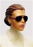 "Female Head: ""Reagan""  Light Skin Tone with Sunglasses, Brown Hair & Low Bun - 1:18 Scale MTF Valkyries Accessory for 3-3/4"" Action Figures"