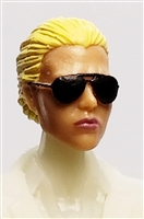 "Female Head: ""Reagan""  Light Skin Tone with Sunglasses, Blonde Hair & Low Bun - 1:18 Scale MTF Valkyries Accessory for 3-3/4"" Action Figures"