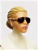 "Female Head: ""Reagan""  Light Skin Tone with Sunglasses, Light Brown Hair & Low Bun - 1:18 Scale MTF Valkyries Accessory for 3-3/4"" Action Figures"