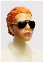 "Female Head: ""Reagan""  Light Skin Tone with Sunglasses, Red Hair & Low Bun - 1:18 Scale MTF Valkyries Accessory for 3-3/4"" Action Figures"