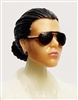 "Female Head: ""Reagan""  Light Skin Tone with Sunglasses, Black Hair & Low Bun - 1:18 Scale MTF Valkyries Accessory for 3-3/4"" Action Figures"