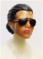 "Female Head: ""Reagan""  Tan Skin Tone with Sunglasses, Black Hair & Low Bun - 1:18 Scale MTF Valkyries Accessory for 3-3/4"" Action Figures"