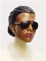 "Female Head: ""Reagan""  Dark Skin Tone with Sunglasses, Black Hair & Low Bun - 1:18 Scale MTF Valkyries Accessory for 3-3/4"" Action Figures"