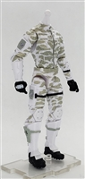"MTF Male Trooper Body WITHOUT Head WHITE Camo ""Arctic-Ops"" Version BASIC - 1:18 Scale Marauder Task Force Action Figure"