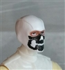 "Male Head: Balaclava WHITE Mask with Black ""JAW"" Deco - 1:18 Scale MTF Accessory for 3-3/4"" Action Figures"
