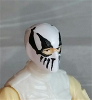 "Male Head: Balaclava WHITE Mask with Black ""FANG"" Deco - 1:18 Scale MTF Accessory for 3-3/4"" Action Figures"