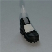 "Male Footwear: Left Black Boot with White Armor - 1:18 Scale MTF Accessory for 3-3/4"" Action Figures"