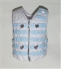 "Male Vest: Tactical Type WHITE with Light Blue Version - 1:18 Scale Modular MTF Accessory for 3-3/4"" Action Figures"