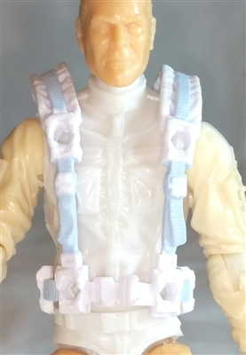 "Male Vest: Harness Rig WHITE with Light Blue Version - 1:18 Scale Modular MTF Accessory for 3-3/4"" Action Figures"