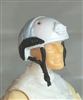 "Headgear: Half-Shell Helmet WHITE with Light Blue Version - 1:18 Scale Modular MTF Accessory for 3-3/4"" Action Figures"
