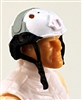 "Headgear: Half-Shell Helmet WHITE with Gray Version - 1:18 Scale Modular MTF Accessory for 3-3/4"" Action Figures"