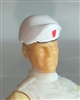 "Headgear: Beret WHITE with Red Shield Version - 1:18 Scale Modular MTF Accessory for 3-3/4"" Action Figures"