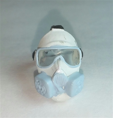 "Headgear: Gasmask WHITE with LIGHT BLUE Version - 1:18 Scale Modular MTF Accessory for 3-3/4"" Action Figures"
