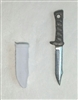 "Fighting Knife & Sheath: Small Size WHITE Version - 1:18 Scale Modular MTF Accessory for 3-3/4"" Action Figures"