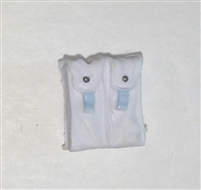 "Ammo Pouch: Double Magazine WHITE with Light Blue Version - 1:18 Scale Modular MTF Accessory for 3-3/4"" Action Figures"