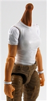 MTF Female Valkyries T-Shirt Torso ONLY (NO WAIST/LEGS): WHITE & WHITE Version with LIGHT Skin Tone - 1:18 Scale Marauder Task Force Accessory