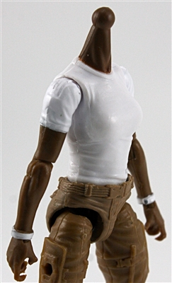 MTF Female Valkyries T-Shirt Torso ONLY (NO WAIST/LEGS): WHITE & WHITE Version with DARK Skin Tone - 1:18 Scale Marauder Task Force Accessory
