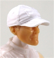"Headgear: Baseball Cap WHITE Version - 1:18 Scale Modular MTF Accessory for 3-3/4"" Action Figures"