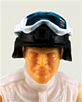 "Headgear: Large Goggles WHITE Version with BLUE Tint - 1:18 Scale Modular MTF Accessory for 3-3/4"" Action Figures"