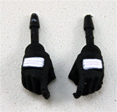 "Female Hands: Black Gloves with White Pads - Right AND Left (Pair) - 1:18 Scale MTF Valkyries Accessory for 3-3/4"" Action Figures"