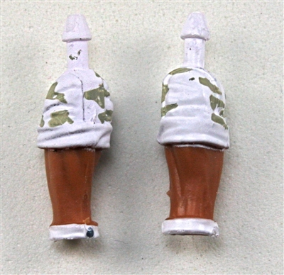"Male Forearms: Bare with White Camo Rolled Up Sleeves Tan Skin Tone - Right AND Left (Pair) - 1:18 Scale MTF Accessory for 3-3/4"" Action Figures"