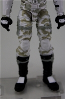 "Male Legs: White Camo Cloth Legs (NO Armor) -  Right AND Left Pair-NO WAIST-LEGS ONLY  - 1:18 Scale MTF Accessory for 3-3/4"" Action Figures"