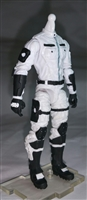 "MTF Male Trooper Body WITHOUT Head WHITE with BLACK ""Ghost-Ops"" Version BASIC - 1:18 Scale Marauder Task Force Action Figure"