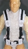 "Male Vest: Harness Rig WHITE with Black Version - 1:18 Scale Modular MTF Accessory for 3-3/4"" Action Figures"