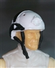 "Headgear: Half-Shell Helmet WHITE with Black Version - 1:18 Scale Modular MTF Accessory for 3-3/4"" Action Figures"