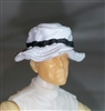 "Headgear: Boonie Hat WHITE with Black Version - 1:18 Scale Modular MTF Accessory for 3-3/4"" Action Figures"