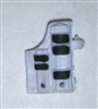 "Pistol Holster: Large Right Handed with Loop WHITE with Black Version - 1:18 Scale Modular MTF Accessory for 3-3/4"" Action Figures"