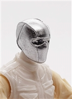 "Male Head: Balaclava Mask SILVER (ALL silver, NO Eye Area Paint )- 1:18 Scale MTF Accessory for 3-3/4"" Action Figures"