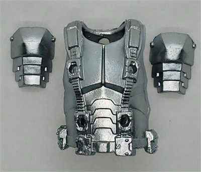 "Male Vest: Armor Type SILVER Version - 1:18 Scale Modular MTF Accessory for 3-3/4"" Action Figures"