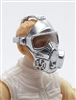 "Headgear: Gasmask SILVER Version with CLEAR Tint Lenses  - 1:18 Scale Modular MTF Accessory for 3-3/4"" Action Figures"