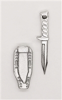 "Fighting Knife & Sheath: Large Size SILVER Version - 1:18 Scale Modular MTF Accessory for 3-3/4"" Action Figures"