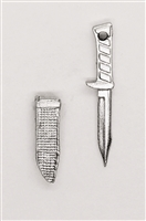 "Fighting Knife & Sheath: Small Size SILVER Version - 1:18 Scale Modular MTF Accessory for 3-3/4"" Action Figures"