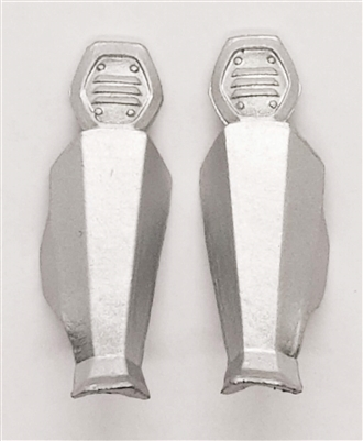 "Female Shin Armor: SILVER Version - Left & Right (Pair) - 1:18 Scale Modular MTF Valkyries Accessory for 3-3/4"" Action Figures"