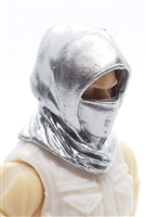 "Headgear: Hood SILVER Version - 1:18 Scale Modular MTF Accessory for 3-3/4"" Action Figures"